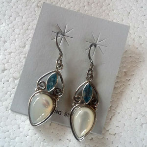 Blue Topaz & Mother of Pearl Sterling Earrings New